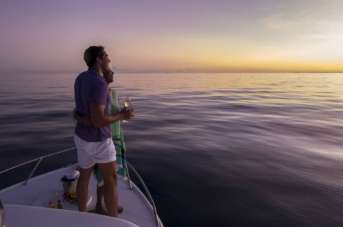 Couple Standing Sunset Cruise