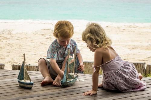 Kids Playing on deck Beach Villa